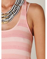 Free People | Pink Striped Ribbed Chiffon High-lo Tank | Lyst