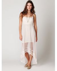 Free People | White Lace & Mesh Maxi Slip | Lyst