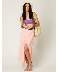 Free People | Pink Fp One Side Slit Maxi Skirt | Lyst
