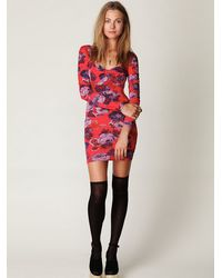 Free People | Red Long Sleeve Printed Bodycon Dress | Lyst
