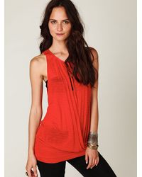 Free People | Red Surplice Banded Bottom Tank | Lyst
