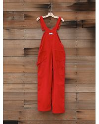 Free People - Red Vintage Corduroy Overalls - Lyst