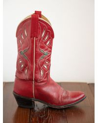 Free People | Red Vintage Cowboy Boots | Lyst