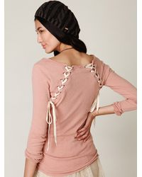 Free People | Pink We The Free Lace Up Back Layering Top | Lyst