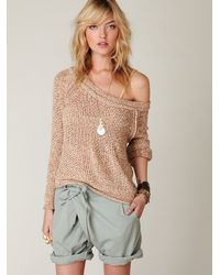 Free People - Green Crossover Wrap Shorts - Lyst