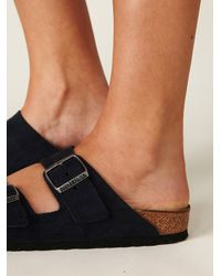 Free People | Blue Arizona Silky Suede Burkenstock | Lyst