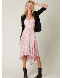 Free People | Pink Fp New Romantics Printed Buttondown Dress | Lyst
