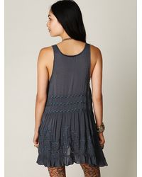 Free People - Blue Voile And Lace Trapeze Slip - Lyst