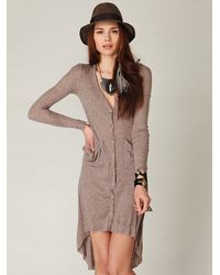 Free People - Brown Ribbed Up Maxi Cardigan - Lyst