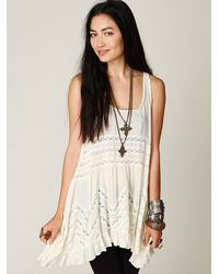 Free People   White Voile And Lace Trapeze Slip   Lyst