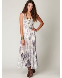 Free People   White Native Floral Silk Slip   Lyst