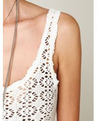 Free People - Natural Lace Cropped Top - Lyst
