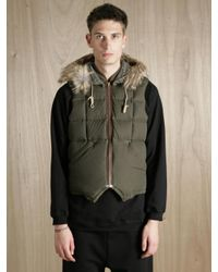 Nigel Cabourn | Green X Eddie Bauer Men S Goose Down And Coyote Fur Desert Wax Vest for Men | Lyst