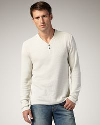 7 For All Mankind | Natural Slub-knit V-neck Henley, Oatmeal for Men | Lyst