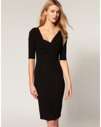 ASOS Collection | Black Asos Pencil Dress with Twist and Wrap | Lyst
