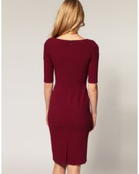 ASOS Collection - Red Asos Pencil Dress with Twist and Wrap - Lyst