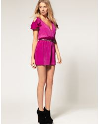ASOS Collection - Blue Asos Petite Exclusive Playsuit with Ruffle Shoulder Detail - Lyst