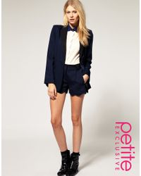 ASOS Collection | Black Asos Petite Exclusive Tuxedo Shorts | Lyst