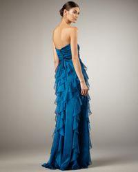 Badgley Mischka | Blue Ruffle-skirt Gown | Lyst