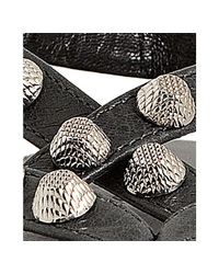 Balenciaga - Gray Anthracite Leather Studded Arena Flat Thong Sandals - Lyst