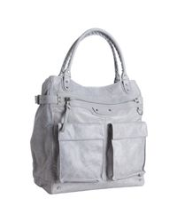 Balenciaga | Metallic Pewter Lambskin Pocket Tote Bag for Men | Lyst