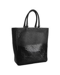 Bottega Veneta | Black Woven Leather Ombre Tote | Lyst