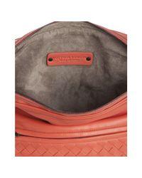 Bottega Veneta - Red Magma Intrecciato Ombre Leather Crossbody Bag - Lyst