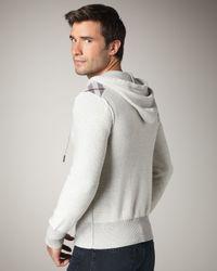 Burberry Brit - Check-shoulder Zip Hoodie, Pale Gray Melange for Men - Lyst