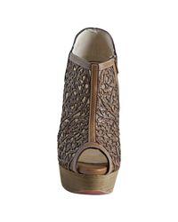 Christian Louboutin - Brown Cognac Leather Pampas 150 Laser Cut Peeptoe Booties - Lyst