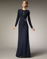 David Meister | Blue Exclusive Keyhole-detail Gown | Lyst