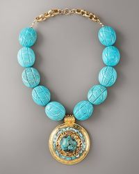 Devon Leigh | Blue Etched Turquoise Pendant Necklace | Lyst