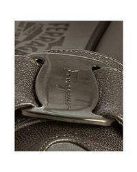 Ferragamo | Metallic Mercury Leather Logo Bow Maxine Flats | Lyst