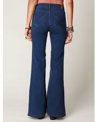 Free People - Blue High Waisted Flares - Lyst