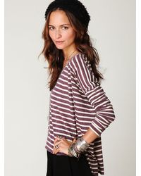 Free People | Purple Striped Long Sleeve Boxy Tee | Lyst