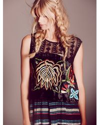 Free People | Black Embroidered Velvet Top | Lyst