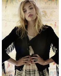 Free People - Black Fringe Leather Jacket - Lyst