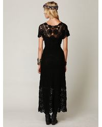 Free People | Black Hand Crochet Maxi Dress | Lyst