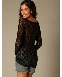 Free People | Black Scandalous Lace Top | Lyst
