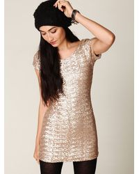 Free People | Metallic Sequin Fever Bodycon Dress | Lyst