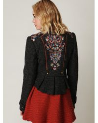 Free People - Gray Picchi Embroidered Coat - Lyst