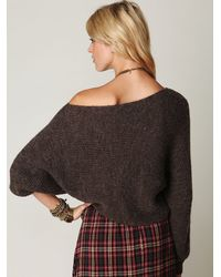 Free People - Brown Easy Days Off The Shoulder Sweater - Lyst