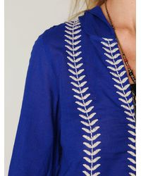 Free People - Blue Embroidered Flora Pullover - Lyst