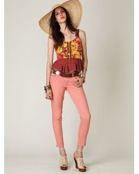 Free People | Orange Ankle Crop Skinny Jeans | Lyst