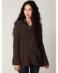 Free People | Brown Fluted Cable Pullover | Lyst