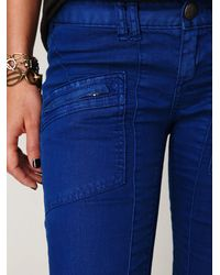 Free People - Blue Fp Utility Jeans with Zippers - Lyst