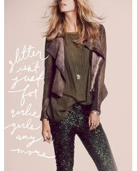 Free People | Brown Blur Ria Leather Jacket | Lyst