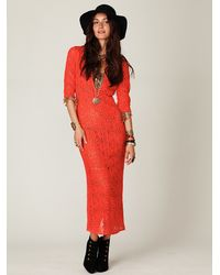 Free People - Orange Birkin Maxi Dress - Lyst
