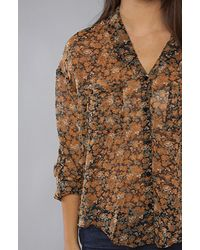 Free People - Black Floral Easy Rider Button Down - Lyst
