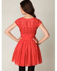Free People - Red Short Sleeve Eyelet Garden Day Dress - Lyst