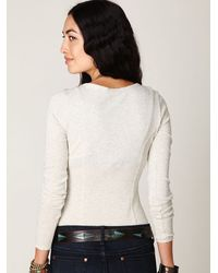 Free People - Natural Crochet Applique Long Sleeve Top - Lyst